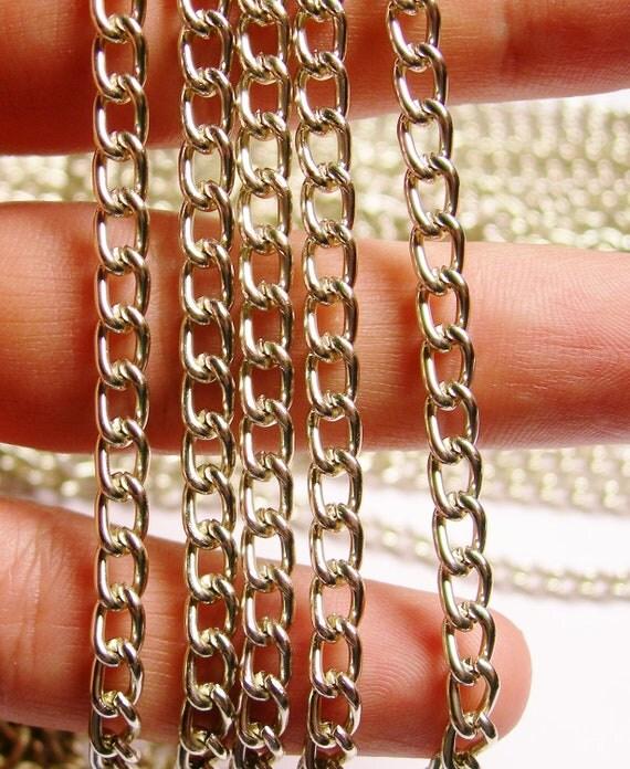 Silver chain - lead free nickel free won't tarnish .1 meter-3.3 feet made from aluminium