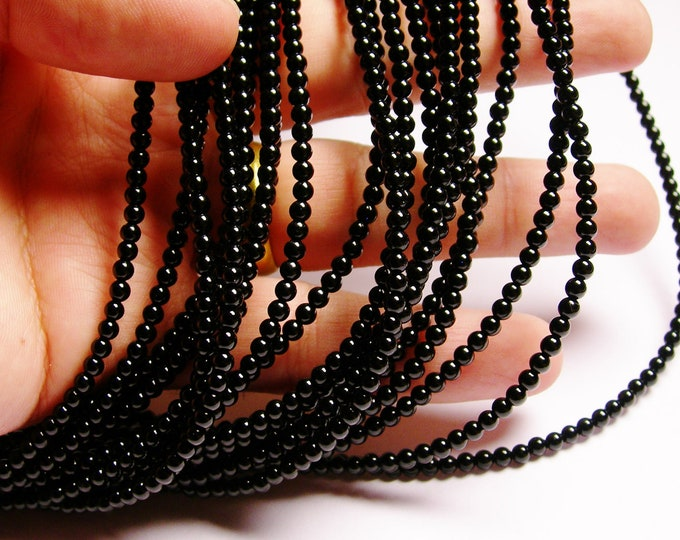 Black Onyx - 3 mm round beads -1 full strand - 130 beads - AA quality - RFG949
