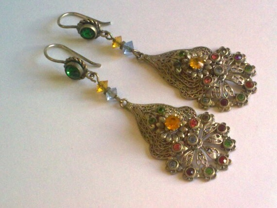 Multi Color Filigree Earrings