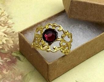 Burgundy Crystal Ring Gold Brass Victorian Filigree Adjustable