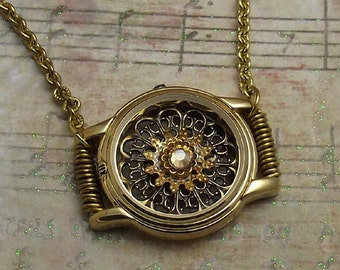 Watch Casing Filigree Necklace Gold