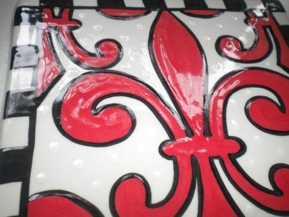 """Red Fleur de Lis 6"""" Tile"""