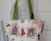 Mimi Tote - Paris Girls on Fuschia Linen with Chartreuse Straps