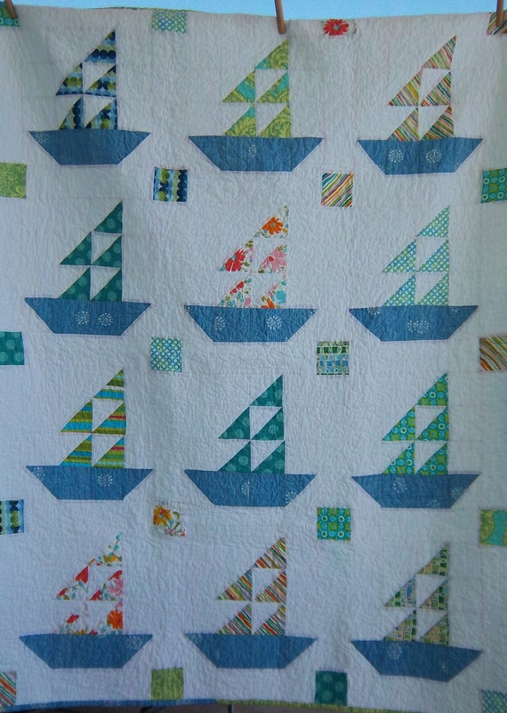 Dreamy Sailboat Quilt by Dreamy Vintage Sheets on Etsy