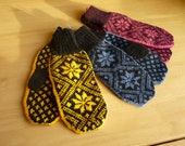 Nordic Style Mitts,Handknitted in 4ply  wool