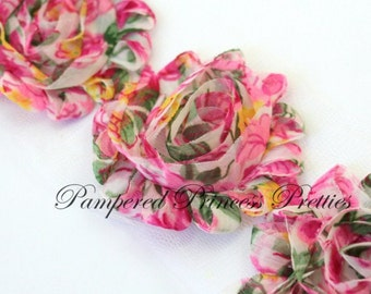 Set of 10-Pink Floral NON Frayed- Shabby Chiffon Flowers