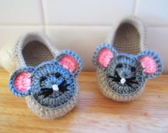 Little Mouse Wool Crochet Baby Booties - 4 Sizes