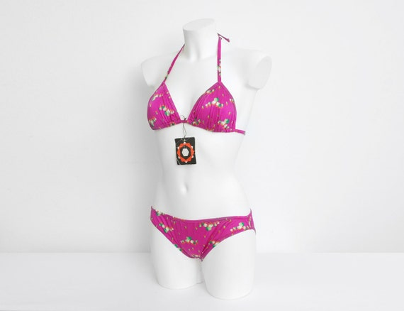 NOS Vintage bikini Size XS Hot pink floral 70s