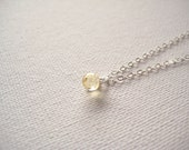 Sterling silver necklace with tiny soft yellow glass droplet pendant - Honey Drop