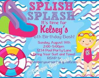 Splish Splash Pool Party Invitation - Pool Party Invitation - Water Slide Party Invitation - Girls Birthday Party DIY Invite