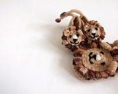 Crochet lion booties, house shoes-Crochet Baby Booties-for Baby or Toddler-Crochet Baby Lion Booties-Children crochet boy slippers-animal