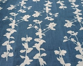 Hand Screen Printed Fabric - Leaf in Blue on Parchment