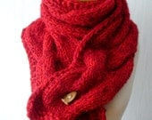 Red Chunky Scarf Big Winter Cabled Cowl Hand Knitted