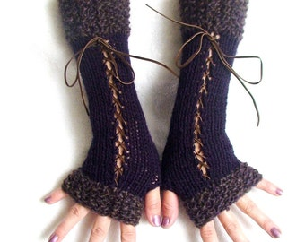 Fingerless Gloves Corset Arm Warmers in Eggplant Dark Violet and Taupe Victorian Style with Suede Ribbons