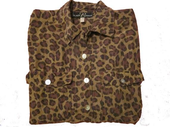 Vintage 80s leopard print silk shirt