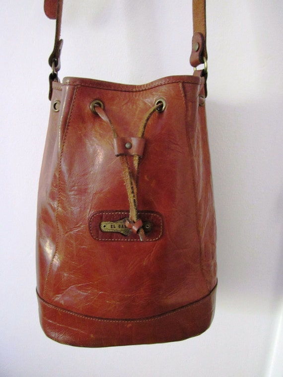 Vintage Leather Bucket bohemian style bag- Made in Italy large bag