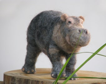 Needle felted hippopotamus, soft sculpture, needle felted animals, OOAK