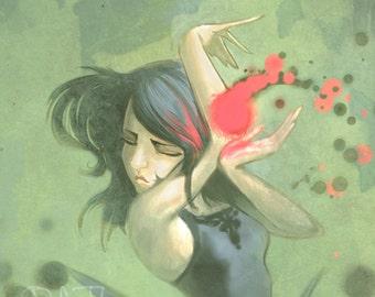Super Girl In a Black Dress and Green room print of original illustration