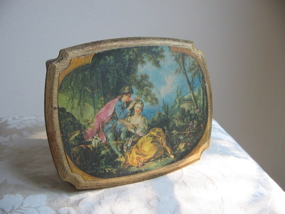 Vintage Jewelry Box Gold Wood European Lovers Garden, Old World Cottage Paris Apartment