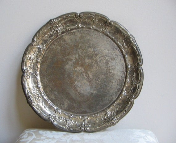 Vintage Silver Plated Metal Serving Tray by Leonard FABULOUS Tarnished Patina