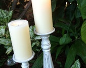 Set of Beautiful Personalized Shabby Chic or Romantic Country Cottage Candle Sticks