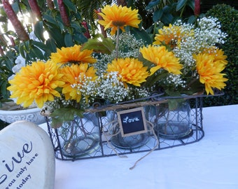 Rustic Three Glass Jar Table Decor in Wire Basket, Centerpiece