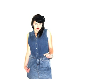 Vintage 90's Denim Tie-Waist Tank Chambray with Silver Western Buttons and Cropped Back Women's Large