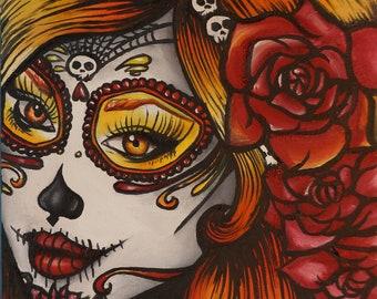 Autumn - Satin paper print  Art Rockabilly Pin Up girl Hair Dia De Los Muertos Lowbrow Tattoo
