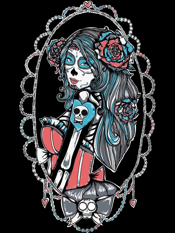 Items similar to Day of the Dead Vector Pin Up Girl Dia ...
