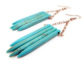 Spike Jewelry, Turquoise Spikes Long Chain Earrings, Spike Row Earrings, Stone Spike Jewelry, Turquoise Shield Earrings