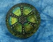 Czech Glass Button Fortuna  Lemon Lime Yellow Green Vitrail
