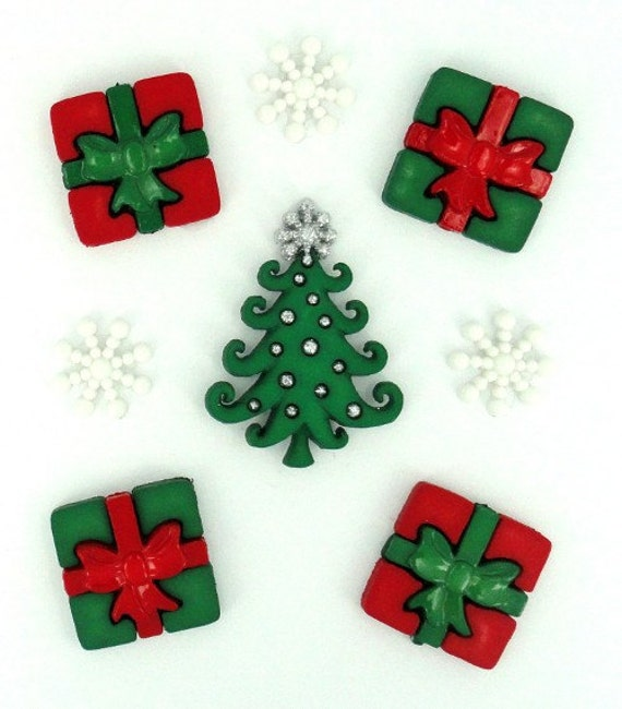 Jesse James Button Embellishments Holiday Novelty Buttons Whimsical Christmas Tree Xmas Presents