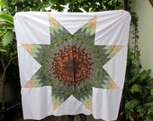I love the earth and green leaves ... Beautiful star quilt top, Star patchwork, 50x50 Inches // Ready to ship //