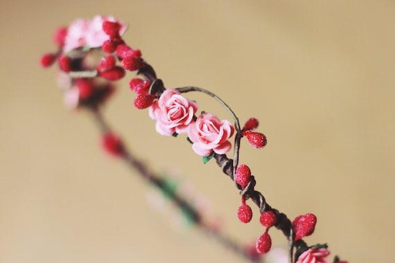 rustic love hair wreath (pink frost) - wedding headpiece, headband, vintage inspired flower rose crown, peach, dainty small ribbon tie.