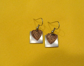 You gotta have a little heart antique silver and copper earrings (Style #239C)