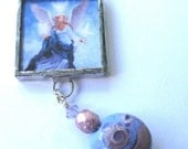 Glass Art Pendant - Purple Angels - Beaded Soldered Glass Pendant Necklace