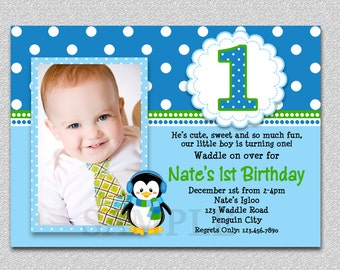 Penguin Birthday Invitation Penguin 1st Birthday Party Invites Printable Boys or Girls