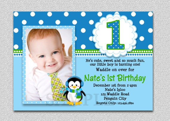 Penguin Birthday Invitation Penguin St Birthday Party Invites - Birthday invitations for baby boy 1st