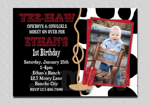 Cowboy Birthday Invitation Cowboy 1st Birthday Party