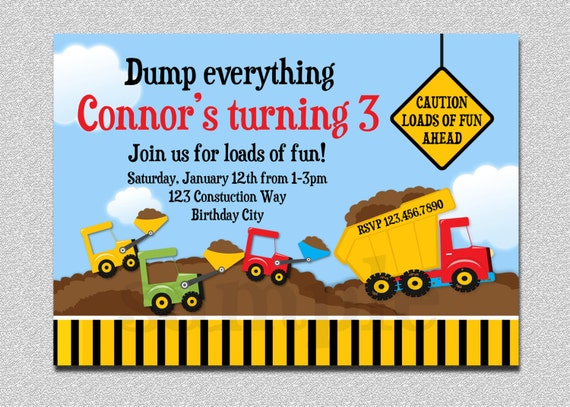 dump truck construction birthday invitation by thetrendybutterfly, Birthday invitations