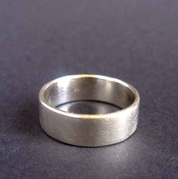 14k White Gold Band - 8 mm wide, made in your size wedding band - White Gold Wedding Ring