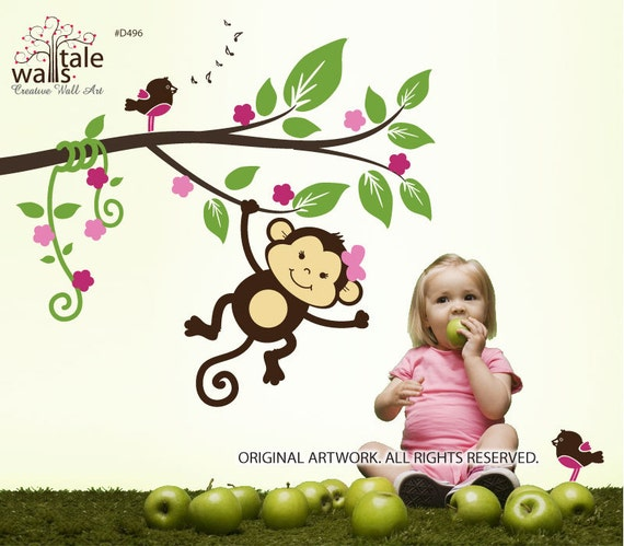 Jungle wall decals - Monkey decals,My little jungle monkeys wall decal with birds for nursery