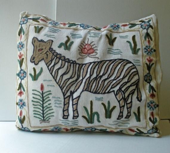 Vintage Needlepoint Pillow Zebra Motif