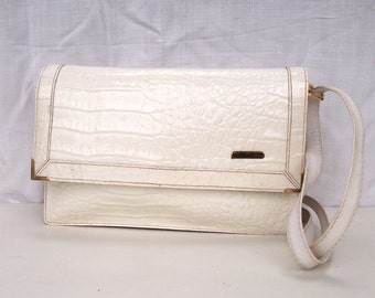 Whitney, French Vintage, 1970s White Leather Envelope Handbag, from Paris