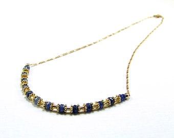 Natural Blue Sapphire & Vermeil Necklace - N562