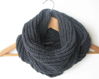 Charcoal chunky wool scarf - Valentine's gift for him