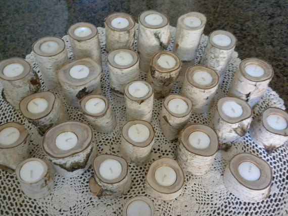 26 Tealite White Birch Candle Holder Perfect for Weddings, Centerpieces