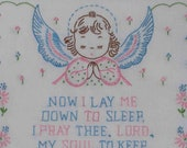 Vintage hand-embroidered child-baby prayer, Now I Lay Me Down to Sleep, custom frame, free shipping