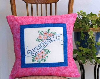 Massachusetts flower pillow, farmhouse, cabin, cottage decor with vintage hand-embroidery -- a keepsake gift. Includes pillow form.