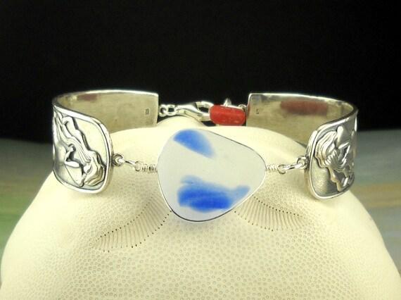 Eco Friendly GENUINE Santa Cruz Sea Glass Bracelet Sterling Silver Mermaids